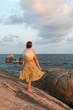 Girl on seashore in Thailand, Koh Samui island