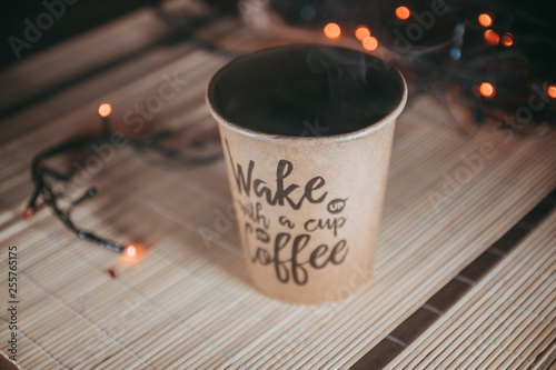 Poster Coffee bar Cup of coffee on table with bookeh background