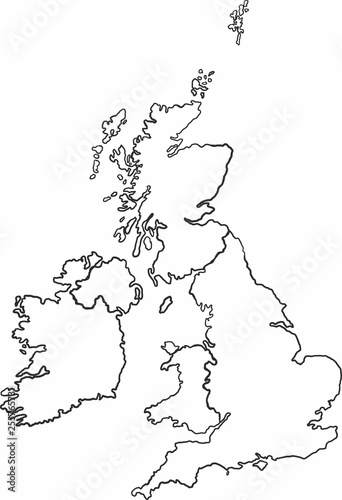 Sketch Map Of Ireland.Freehand Sketch Of United Kingdom And Ireland Map On White