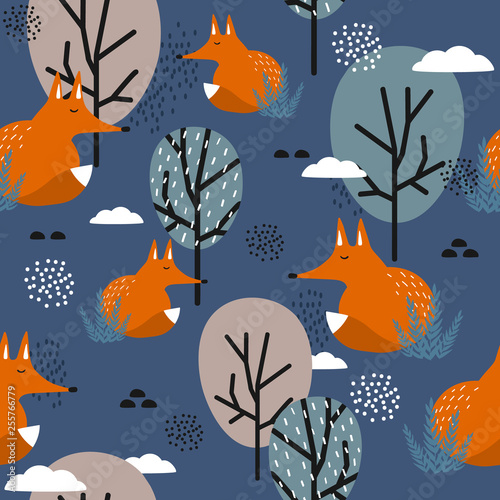 Foxes, trees and clouds, hand drawn backdrop. Colorful seamless pattern with animals. Decorative cute wallpaper, good for printing. Overlapping background vector. Design illustration