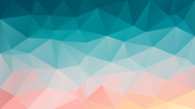 Vector Abstract Irregular Polygon Background - Triangle Low Poly Pattern - Blue Gree Teal Turquoise And Salmon Pink Orange Color