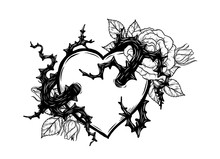 Heart With Rose Vine Vector By Hand Drawing.Beautiful Tattoo On White Background.Graphic Art Highly Detailed In Line Art Style.