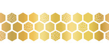 Gold Foil Hexagon Shapes Seamless Vector Border. Geometric Golden Hexagons With Texture. Elegant Design For Cards, Birthday Party, Wedding Invitation, Celebration, Banner, Digital Paper, Home Decor