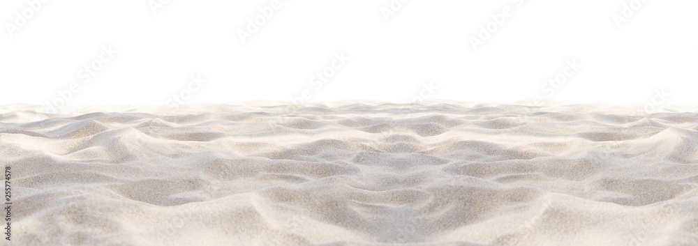 Fototapeta Sand beach texture isolated on white background. Mock up and copy space. Top view. Selective focus.