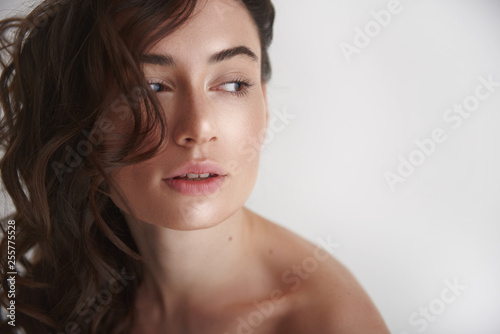 Fotografie, Obraz  Portrait of young graceful pretty brunette woman