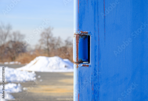 Abstract blue steel door handle  Shipping container handle latch