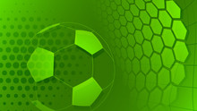Football Or Soccer Background With Big Ball In Green Colors