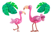 Pink Flamingo With Palm Leaves Made Of Plasticine Isolated On White Background. Crafts From Platinum. Children Crafts. Plasticine Bird Flamingo