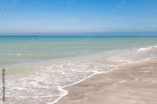 Florida beach looking into the Gulf of Mexico during a clear day