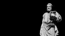 Saint Peter Patron Of Rome  (Black And White With Copy Space)