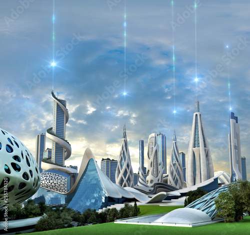 Valokuva  Futuristic city powered by an exotic energy source
