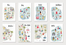 Big Set Of Illustrated Maps Of Of European Cities With Cute And Fun Hand Drawn Characters, Plants And Elements.