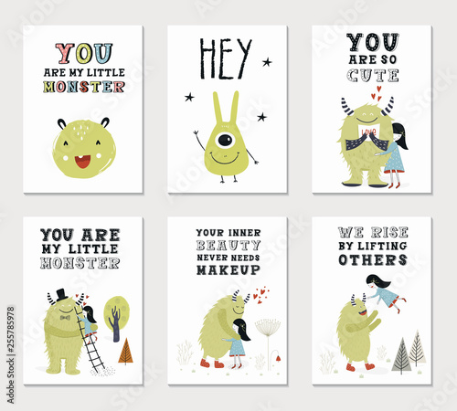 Photo  Collection of children cards with cute monsters and lettering