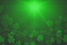 St. Patrick's Day Green Shamrock Leaves Background. Patrick's Day Backdrop With Growing Clover Leaf Extreme Close-up. Patrick Day Pub Party Background