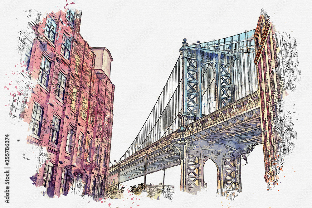 Fototapeta Watercolor sketch or illustration of a beautiful view of the Brooklyn Bridge and other buildings in NYC in the USA
