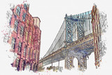 Fototapeta Nowy York - Watercolor sketch or illustration of a beautiful view of the Brooklyn Bridge and other buildings in NYC in the USA