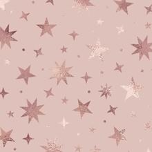 Stars. Rose Gold. Elegant Vector Texture