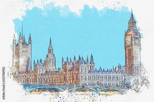 Fényképezés  Watercolor sketch or illustration of a beautiful view of the Big Ben and the Hou