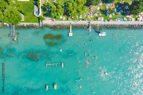 aerial view of the shore with building. back yards with piers Canvas Print