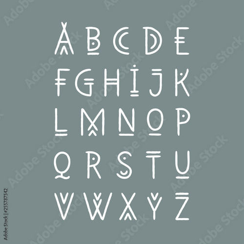 In de dag Boho Stijl Vector alphabet set. Capital letters in geometric line art style. For hipster theme, trendy posters