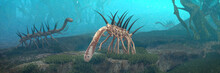 Hallucigenia, Prehistoric Aquatic Animals From The Cambrian Period (3d Paleoart Illustration Banner)