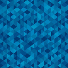 Abstract Polygon Blue Graphic Triangle Seamless Pattern. Vector Graphic Background.