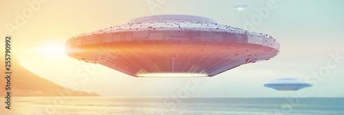 Obraz na płótnie UFO, science fiction scene with alien spaceship, extraterrestrial visitors in fl