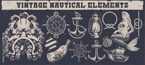Set of a vintage nautical elements Canvas Print