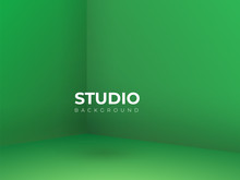 Vector,Empty Vivid Lighting Green Studio Room Background ,Template Mock Up For Display Or Montage Of Product,Business Backdrop