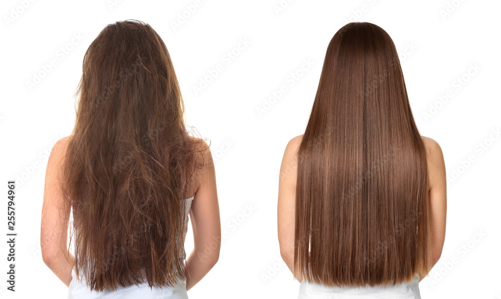 Fototapeta Woman before and after hair treatment on white background
