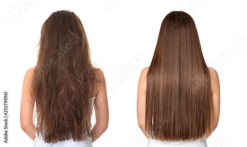 Foto Woman before and after hair treatment on white background