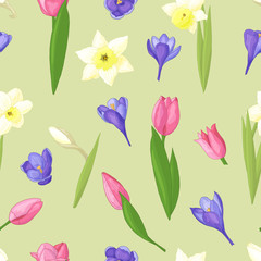 Seamless pattern of daffodils, tulips and crocuses