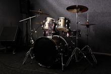 Modern Drum Set In Recording Studio. Music Equipment