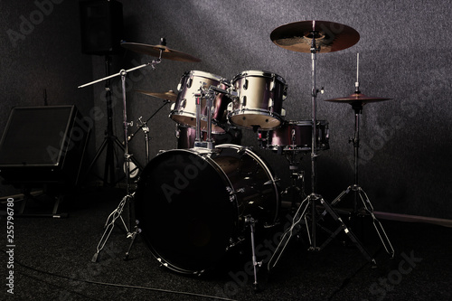 Obraz na płótnie Modern drum set in recording studio. Music equipment