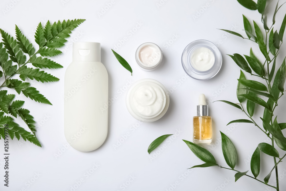 Fototapety, obrazy: Flat lay composition with different body care products on white background