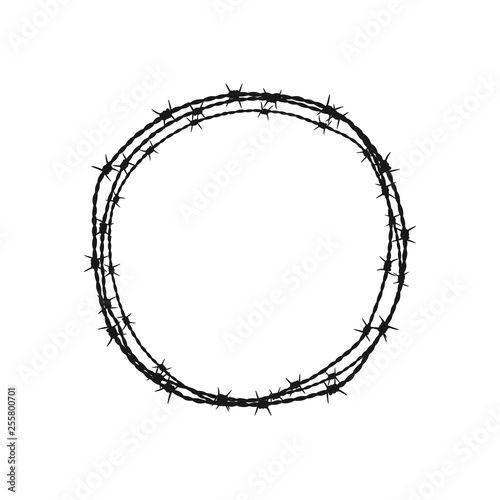 Foto Barbed wire circle. Vector illustration. Isolated.
