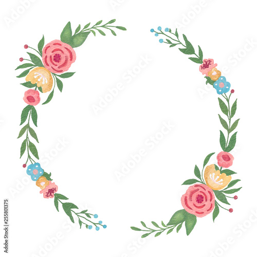 Valokuva  Greenery floral frame , leaf wreath, watercolor wreath, Template for invitations, greeting cards, prints