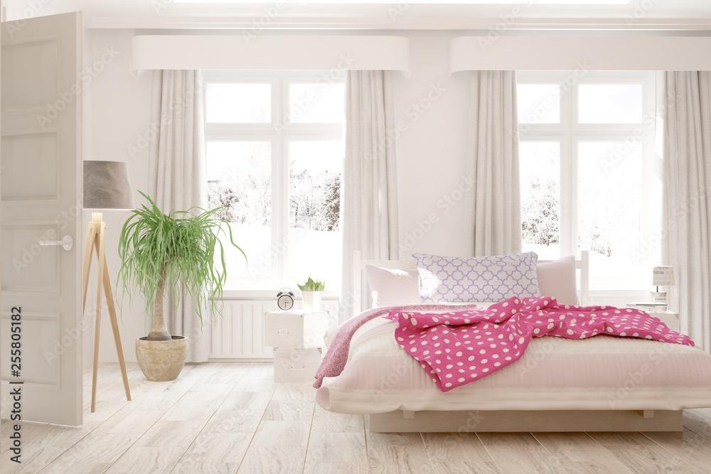 Biała Stylowa Minimalistyczna Sypialnia Skandynawski