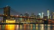 Panoramic view of Brooklyn bridge and Manhattan at sunrise, New York City. Time lapse of night to day transition.