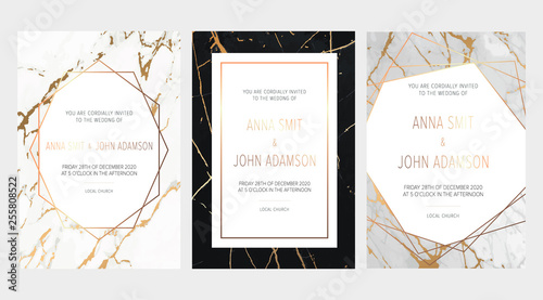 Gold Black White Marble Elegant Wedding Invite Artistic Cover Design Colorful Texture Trendy Pattern Graphic Poster Gold Geometric Brochure Card All Elements Are Isolated And Editable Buy This Stock Vector And