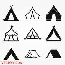 Camping Tent Icon Vector Sign ...