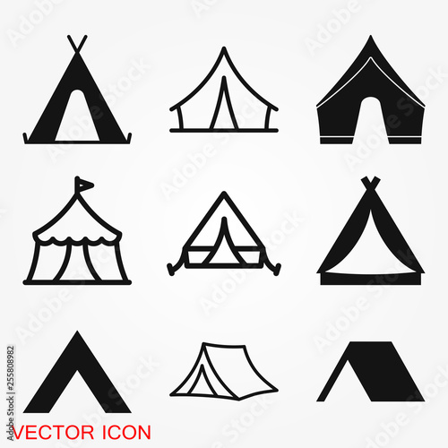 Foto Camping tent icon vector sign symbol for design