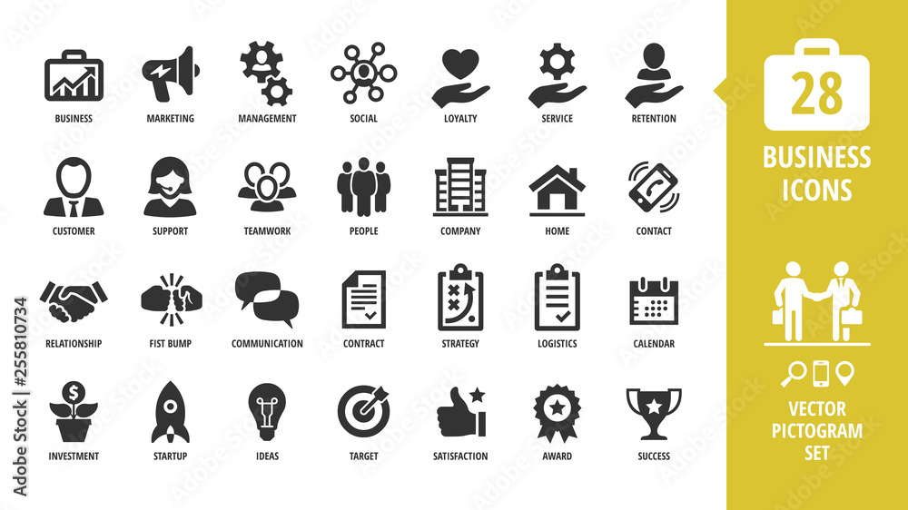 Fototapeta Vector business isolated silhouette icon set with business, marketing, management, social, loyalty, service, retention, handshake, fist bump and more sign.