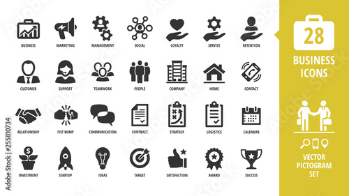 Fotografía  Vector business isolated silhouette icon set with business, marketing, management, social, loyalty, service, retention, handshake, fist bump and more sign