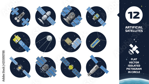 Cuadros en Lienzo 12 vector flat isolated color communication artificial satellite icon in circle space background with GPS tracking radar station, solar panel and dish