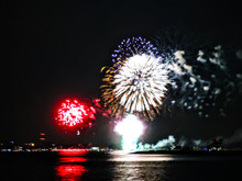 Red, Blue, White, And Gold Fireworks