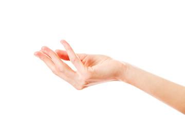 Kobiety ręki gestykulować odizolowywam na białym tle. Widok z boku.