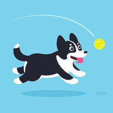 Cartoon Dog Running After Ball