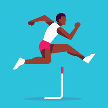 Hurdle Race Athlete Jumping