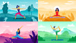 Yoga exercise on nature. Relax outdoors exercises, healthcare fitness and healthy lifestyle. Yoga poses flat vector illustration set